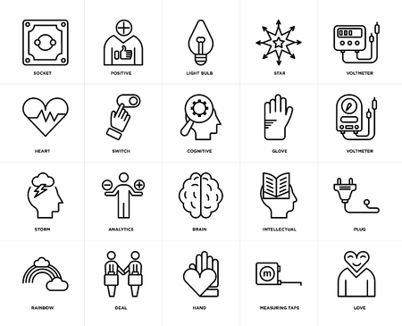 Set Of 20 icons such as Love, Measuring tape, Hand, Deal, Rainbow, Voltmeter, Glove, Brain, Storm, Switch, Light bulb, web UI editable icon pack, pixel perfect Illustration