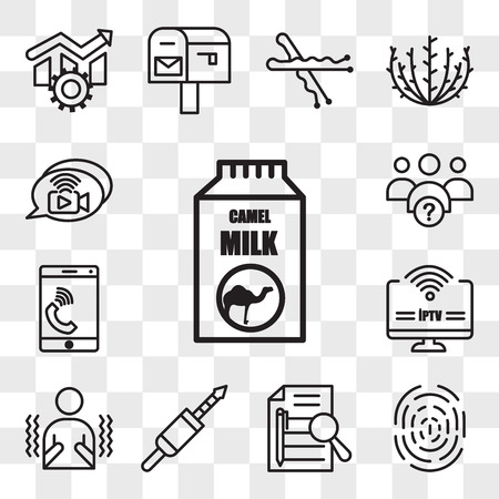 Set Of 13 transparent editable icons such as camel milk, fingerprint, executive summary, 3.5 mm jack, shivering, iptv, celphone, why us, livechat, web ui icon pack, transparency set Illustration