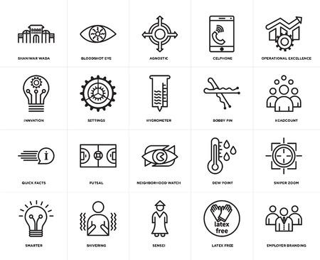 Set di 20 semplici icone modificabili come l'employer branding, l'organico, l'eccellenza operativa, il cellulare, lo smart, l'occhio iniettato di sangue, il punto di rugiada, l'innovazione, il pacchetto di icone dell'interfaccia utente web, pixel perfetto Vettoriali
