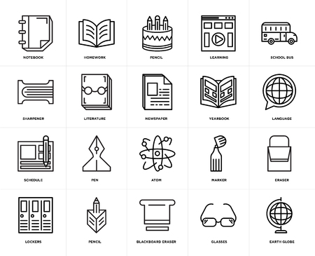Set Of 20 icons such as Earth globe, Glasses, Blackboard eraser, Pencil, Lockers, School bus, Yearbook, Atom, Schedule, Literature, web UI editable icon pack, pixel perfect