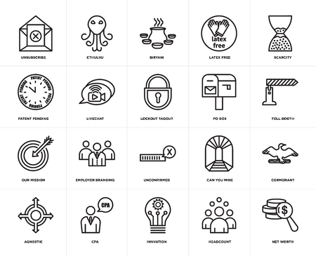 Set Of 20 icons such as net worth, headcount, innvation, cpa, agnostic, scarcity, po box, unconfirmed, our mission, livechat, biryani, web UI editable icon pack, pixel perfect