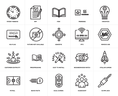 Set Of 20 simple editable icons such as 3.5 mm jack, remove ads, innvation, prerende, futsal, rfp, neighborhood watch, ksa flag, web UI icon pack, pixel perfect