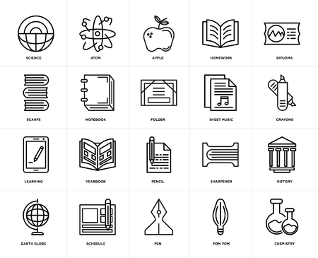 Set Of 20 icons such as Chemistry, Pom pom, Pen, Schedule, Earth globe, Diploma, Sheet music, Pencil, Learning, Notebook, Apple, web UI editable icon pack, pixel perfect Illustration