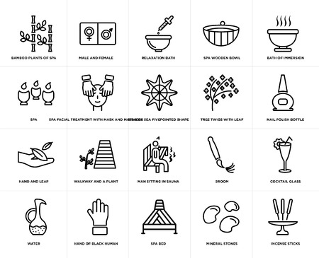 Set Of 20 simple editable icons such as Incense sticks, nail polish bottle, Bath of immersion, Spa wooden bowl, water, male and female, broom, Spa, web UI icon pack, pixel perfect