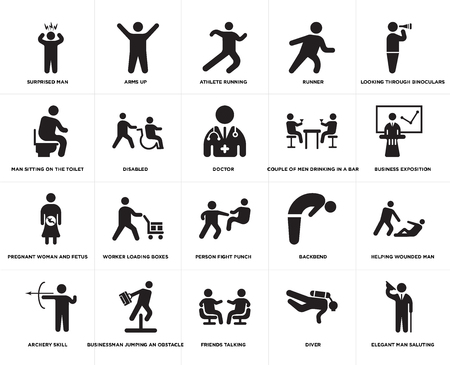 Set Of 20 simple editable icons such as Doctor, Diver, Friends talking, Businessman jumping an obstacle, Couple of men drinking in a bar, web UI icon pack, pixel perfect Illustration
