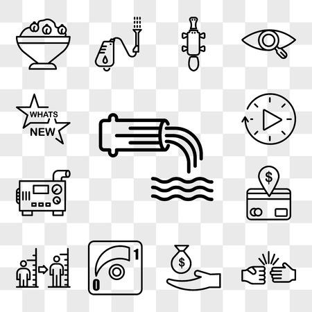Conjunto de 13 iconos transparentes como aguas residuales, piedra, papel, tijeras, subsidio, atenuador, índice de masa corporal, débito directo, generador diesel, tiempo de inactividad, paquete de iconos editables de interfaz de usuario web, conjunto de transparencia
