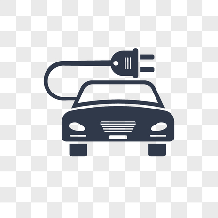 Eco energy car vector icon isolated on transparent background, Eco energy car logo concept