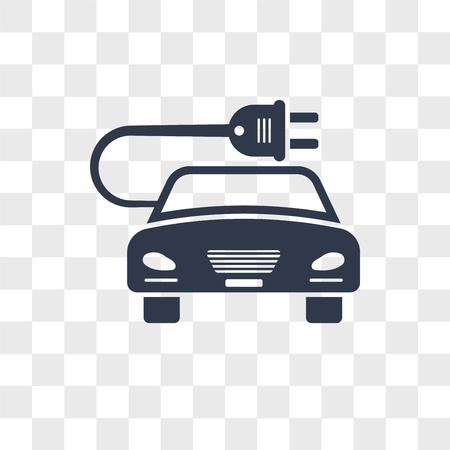 Icône de vecteur de voiture énergie Eco isolé sur fond transparent, concept logo voiture énergie Eco