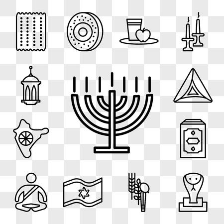 Set Of 13 transparent editable icons such as Big Menorah, Cobra, Four Species, Israel Flag, Meditation, Holy Quran, India, Hamantaschen, Islamic Lantern, web ui icon pack, transparency set