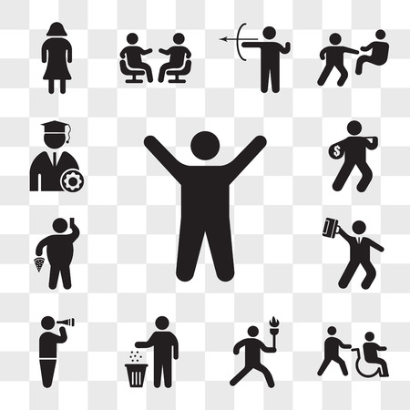Set Of 13 transparent icons such as Arms up, Disabled, Man running with sport torch, Person recycling, Looking through binoculars, Hurry businessman, web ui editable icon pack, transparency