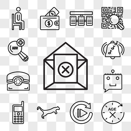 Set Of 13 transparent editable icons such as unsubscribe, anti aging, replay, cougar, handphone, chat bot, phone, ringtone, advanced search, web ui icon pack, transparency set