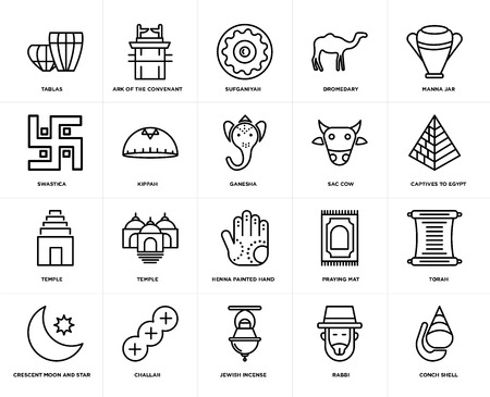 Set Of 20 simple editable icons such as Ark of the Convenant, Rabbi, Manna Jar, Challah, Crescent Moon and Star, Torah, Kippah, web UI icon pack, pixel perfect