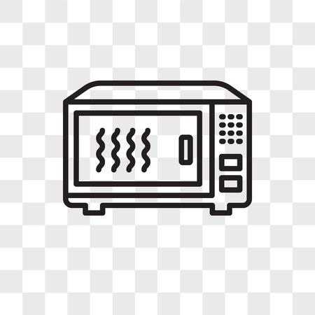 Icono de vector de horno microondas aislado sobre fondo transparente, concepto de logo de horno microondas