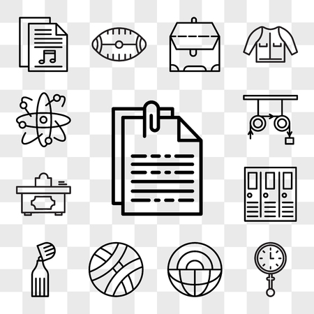 Set Of 13 transparent editable icons such as File, Clock, Science, Basketball, Marker, Lockers, Teacher desk, Physics, Atom, web ui icon pack, transparency set