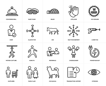 Set Of 20 simple editable icons such as hypnosis, laser tag, 100 genuine, applause, suppliers, sleep mask, cheerleader, user, web UI icon pack, pixel perfect