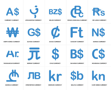 Set Of 20 simple editable icons such as Namibia currency, Denmark Kyrgyzstan North Korea Ghana web UI icon pack, pixel perfect