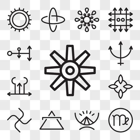 Set van 13 transparante bewerkbare pictogrammen zoals Craftiness, Virgo, Gods almacht, Air, Loyalty, Good luck, Tartar, Neptune, Spirit, web ui icon pack, transparant set