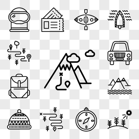Conjunto de 13 iconos editables transparentes como montaña, bosque, brújula, senderismo, gorro, mochila, coche, mapa, paquete de iconos de interfaz de usuario web, conjunto de transparencia Ilustración de vector