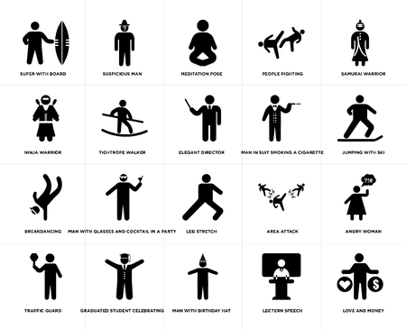 Set Of 20 simple editable icons such as Samurai Warrior, Lectern Speech, Man with birthday hat, Jumping ski, web UI icon pack, pixel perfect