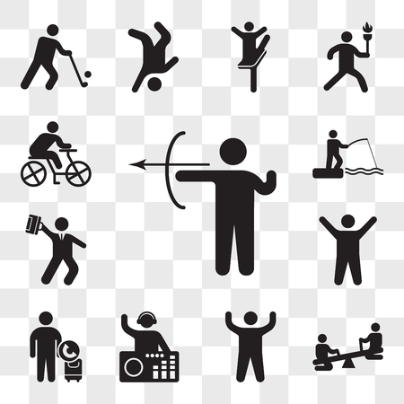 Set Of 13 transparent icons such as Archery skill, Children on see saw, Arm up, DJ Mixing Music, Call taxi, Arms Hurry businessman, web ui editable icon pack, transparency set