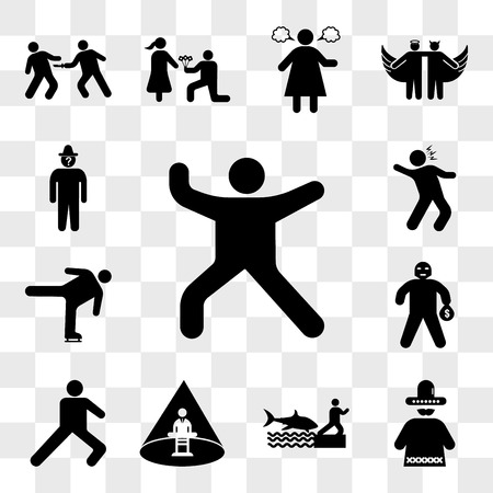 Set Of 13 transparent icons such as Person dance music, Mexican man, Shark attack, Abducted Man, Leg stretch, Masked Criminal Heist, Ice skating move, web ui editable icon pack, transparency set