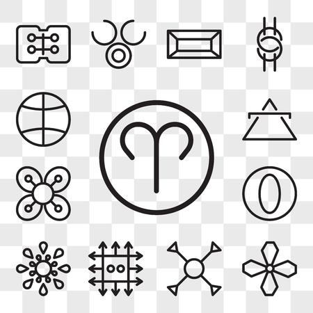 Conjunto de 13 iconos editables transparentes como Aries, hollín, comprensión, zinc, desigualdad, grandeza, abundancia, aire, tierra, paquete de iconos de interfaz de usuario web, conjunto de transparencia Ilustración de vector