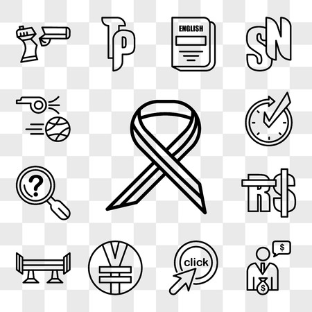 Set Of 13 transparent editable icons such as multiple sclerosis, cfo, click me, rmb, spoiler, saudi riyal, problem statement, realtime, kickoff, web ui icon pack, transparency set Illustration