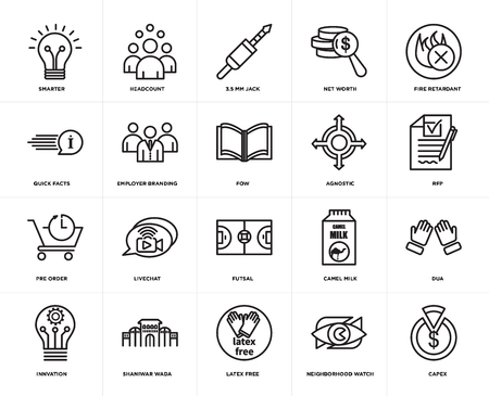 Set Of 20 simple editable icons such as capex, rfp, fire retardant, net worth, innvation, headcount, camel milk, quick facts, web UI icon pack, pixel perfect 向量圖像