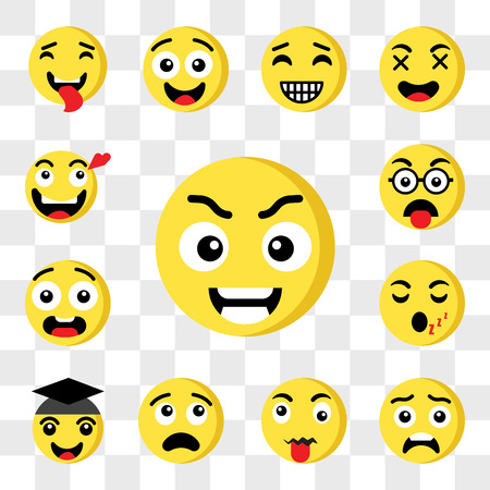 Set Of 13 transparent icons such as Smart emoji, Surprised Tongue Thinking Graduated Sleeping Ugly Nerd web ui editable icon pack, transparency set
