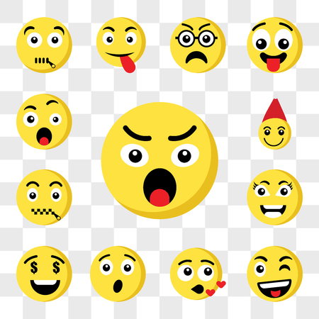 Set Of 13 transparent icons such as Angry emoji, Wink Kiss Surprised Greed Smart Muted Santa claus web ui editable icon pack, transparency set Vettoriali