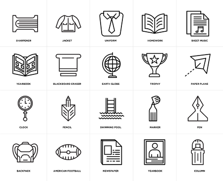 Set Of 20 simple editable icons such as Column, Paper plane, Sheet music, Homework, Backpack, Jacket, Marker, Yearbook, web UI icon pack, pixel perfect