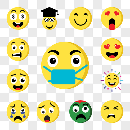 Set Of 13 transparent editable icons such as Sick, Sad, Zombie, Shocked, Crying, Cheering, In love, Sca, web ui icon pack, transparency set