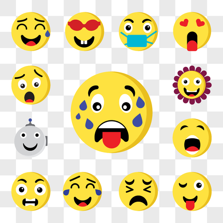 Set Of 13 transparent editable icons such as Sweat, Tongue, Sad, Laughing, Outrage, Bo, Robot, Flower, Shocked, web ui icon pack, transparency set Çizim