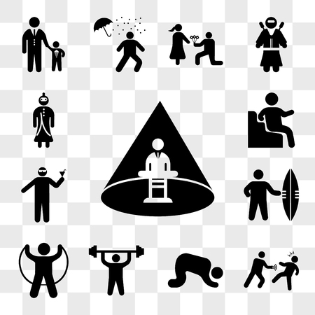 Set Of 13 transparent icons such as Abducted Man, Punching someone, Muslim Prayer, Man doing exercises, Jumping, Sufer with board, web ui editable icon pack, transparency