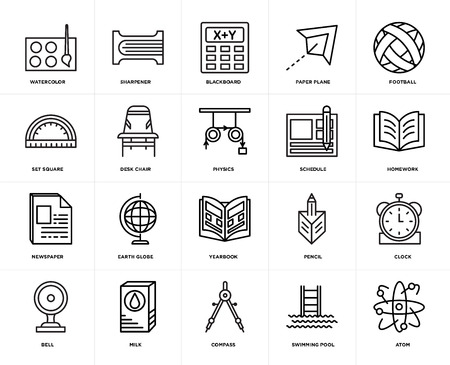 Set Of 20 icons such as Atom, Swimming pool, Compass, Milk, Bell, Football, Schedule, Yearbook, Newspaper, Desk chair, Blackboard, web UI editable icon pack, pixel perfect