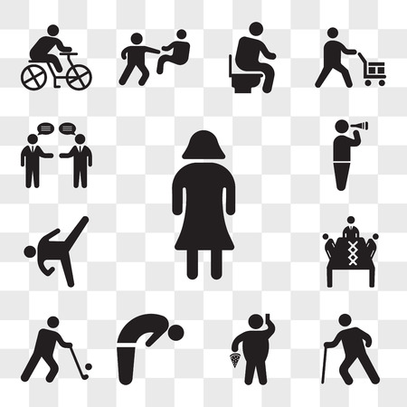 Set Of 13 transparent icons such as Woman with dress, Old man walking, Fat Man With Pizza and Telephone, Backbend, Golfer, Business meeting, web ui editable icon pack, transparency