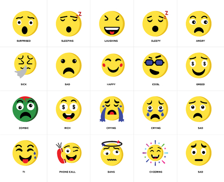Set Of 20 icons such as Sad, Cheering, Bang, Phone call, Ti, Angry, Cool, Crying, Zombie, Laughing, web UI editable icon pack, pixel perfect
