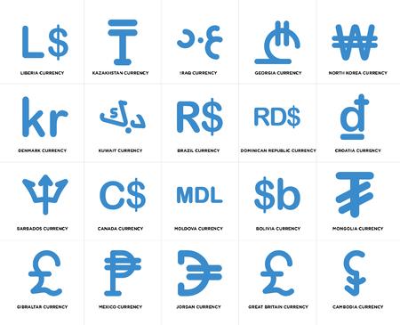 Ensemble de 20 icônes modifiables simples telles que la devise de la Croatie, la Jordanie, le Mexique, le Danemark, le Brésil, le pack d'icônes de l'interface utilisateur Web, pixel perfect