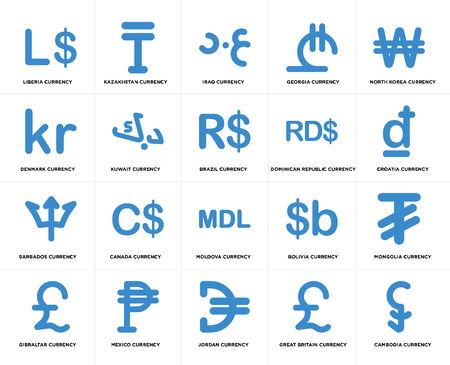 Set Of 20 simple editable icons such as Croatia currency, Jordan Mexico Denmark Brazil web UI icon pack, pixel perfect Illustration