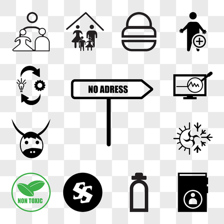 Set Of 13 transparent editable icons such as no address, guestbook, fire dept, Black swastik, non toxic, hvac, yak, proactive, omnichannel, web ui icon pack, transparency set Illustration