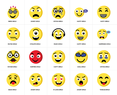 Set Of 20 simple editable icons such as Tongue emoji, Surprised Happy Dead Angry Cool Muted web UI icon pack, pixel perfect
