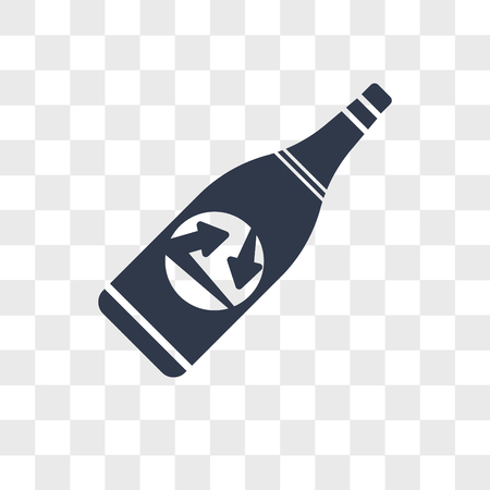 Recycled bottle vector icon isolated on transparent background, Recycled bottle logo concept