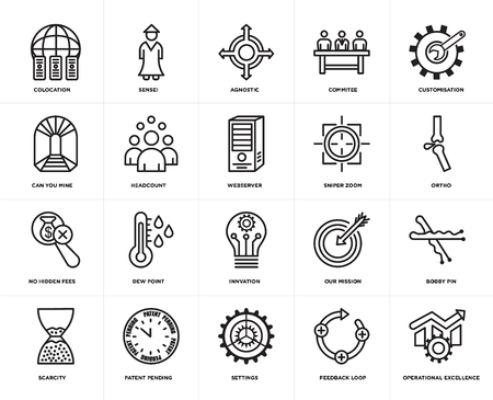 Set Of 20 simple editable icons such as operational excellence, ortho, customisation, commitee, scarcity, sensei, our mission, can you mine, web UI icon pack, pixel perfect 일러스트