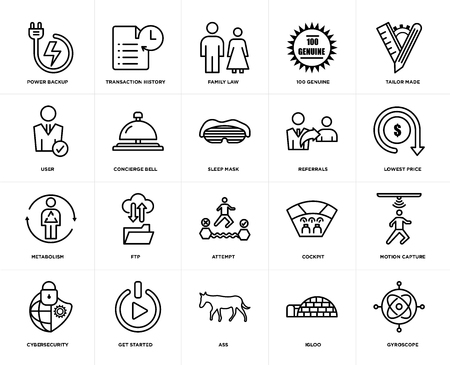 Set Of 20 icons such as gyroscope, igloo, ass, get started, cybersecurity, tailor made, referrals, attempt, metabolism, concierge bell, family law, web UI editable icon pack, pixel perfect Ilustração
