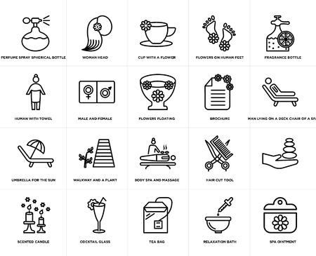 Set Of 20 simple editable icons such as Woman head, Relaxation bath, Fragrance bottle, Cocktail glass, scented candle, , male and female, web UI icon pack, pixel perfect