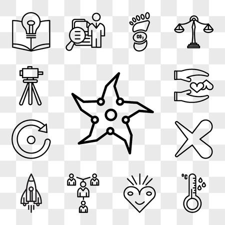 Set Of 13 transparent editable icons such as throwing star, temperature sensor, bliss, mentorship, stellar lumens, x, retry, loyal, surveyor, web ui icon pack, transparency set