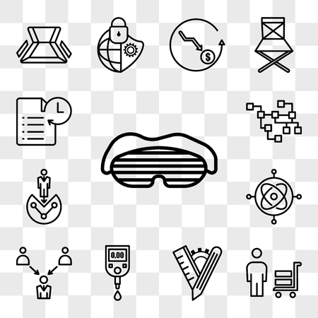 Set Of 13 transparent icons such as sleep mask, suppliers, tailor made, blood sugar, employer of choice, gyroscope, customer segmentation, web ui editable icon pack, transparency set