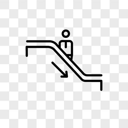 Escalator vector icon isolated on transparent background, Escalator logo concept