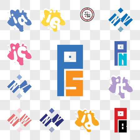 Set Of 13 transparent editable icons such as PS or SP, PB BP, id di, NY YN, NW WN, it ti, NZ ZN, PN NP, ic ci, web ui icon pack, transparency set Illusztráció