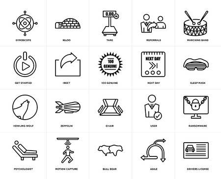 Set Of 20 icons such as drivers license, agile, bull bear, motion capture, psychologist, marching band, next day, chair, howling wolf, irect, tare, web UI editable icon pack, pixel perfect